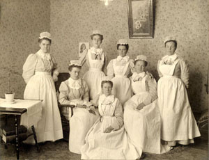 Nurses at Everett's Hospital. Electa Friday is on the right. Courtesy of Everett Public Library